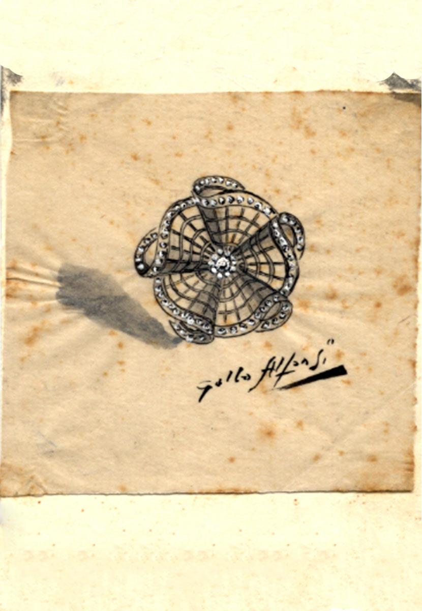1880-disegno-spilla-gallo-alfonsi-germano-gioielli