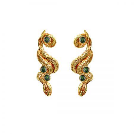 germano-gioielli-orecchini-terra-serpente-lungo- verde-idro