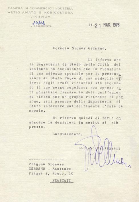 Vaticano richiesta medaglia 1976